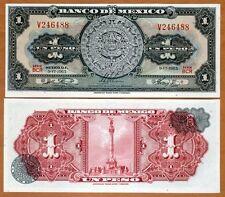 Mexico, 1 Peso, 9-6-1965, P-59 (59i),  UNC > Aztec Calendar