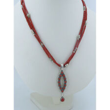 925 Sterling Silver 3 Strand Genuine Red Coral Teardrop necklace Pendant
