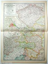 Original 1902 Map of Austria Hungary - Western Part - by The Century Company
