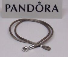 New Pandora Khaki Medium 7.1 inch S2 Silky Cord Bracelet w/Heart Clasp 590749CGG