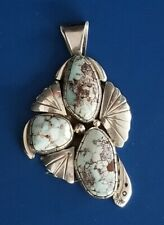 Vintage Fred Guerro Signed FG Turquoise & Sterling Silver Pendant - 25.1 grams