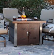 Patio Heater Table Square Fire Pit Outdoor Backyard Propane Firepit Fireplace