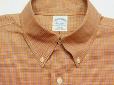 BROOKS BROTHERS SLIM FIT Btn-Down Gingham Check Woven Long Sleeve Shirt L