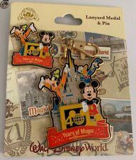 Disney Parks WDW Magic Kingdom 40th Anniversary Mickey Mouse Lanyard Medal & Pin