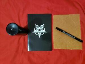 Beginners Devil Worship Kit: Black Candle, Satanic Book, Goatskin Vellum/Pen!