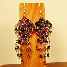 "2 1/2""Gold Multi Color Dreamcatcher Style Handmade Dangle Seed Bead Hook Earring"
