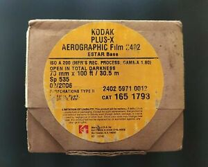 KODAK PLUS X AEROGRAPHIC FILM 2402 ESTAR BASE ISO A200(70mm x 100ft)Expired 2006