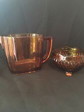 Vintage Yellow/Gold Pitcher and candy bowl~Glass ~rare