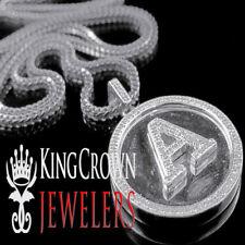 "Genuine Diamond Initial Letter Alphabet ""A"" Pendant +Chain 10K White Gold Finish"