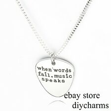 1pc when words fail music speaks Pendant Necklace Fashion Ladies Mens Gift