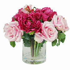 FLOWER ARRANGEMENTS - PEONY AND ROSE SILK FLORAL ARRANGEMENT - WATER FLORAL