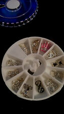 3D Nail Art Tips Decoration Glitter Rhinestones Alloy Jewellery + Wheel
