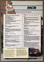 1988 Mack MCR (2 page) original Australian sales brochure