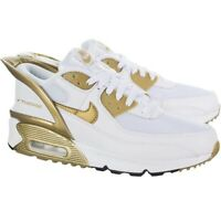 Nike Air Max 90 Flyease GS UK 5 EU 38 White  Metallic Gold CU0814-100 New In Box
