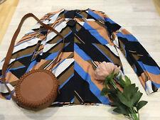 Massimo Dutti NEW UK 14 Blouse Top (Zara Company) V-neck Viscose Career Long Slv