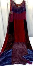 Citron Santa Monica Silk Burn Out Cut Velvet Sheer Patchwork Maxi Dress Size XS
