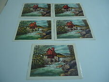 """John Rogers Prints lot of 5 in cellophane """"Watermill"""" river mill Donald Art Co."""
