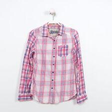 SUPERDRY Bluse Tunika Hemd Damen Kariert Rosa Pink Blau Gr. S Small 36