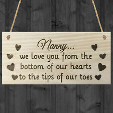 Nanny We Love You to The Tips of Our Toes Grandma Gift Wooden Hanging Plaque