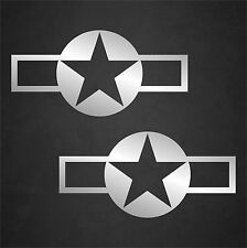2 CHROME USAF Aircraft Insignia Stickers Military Vinyl Star Decal Sticker Car