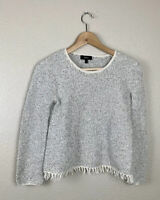 Theory Womens P Vendla Tweed Fringe Sweater Textured Pullover XS