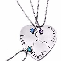 3 part best friends forever necklace Christmas gifts cousin niece daughter girls