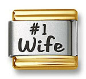Italian Charm Bracelet Links Laser Words #1 Wife Gold Trim  9mm Stainless Steel