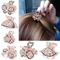 Lovely Mini Crystal Rhinestone Plastic Butterfly Hair Claw Jaw Clip Clamp Pin SE