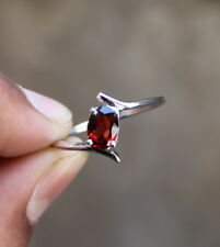 NATURAL RED GARNET RING 925 STERLING SILVER HANDMADE JEWELRY GIFT FOR HER LOVE