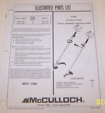 New listing McCulloch Trimmer Titan Td 3000 & Td 3900 Oem Illustrated Parts List