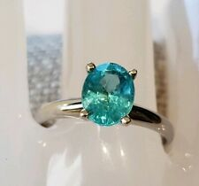 18K White Gold Apatite Solitaire Ring Sz7