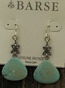 Barse Kismet Earrings-=Kingman Turquoise & Topaz- Bronze- NWT