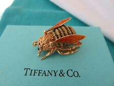 TIFFANY & CO VINTAGE 18K GOLD ENAMEL & DIAMOND BUMBLE BEE BROOCH RARE