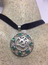 Vintage Silver Bronze Tibetan Large Ohm Shanti Pendant Necklace Choker