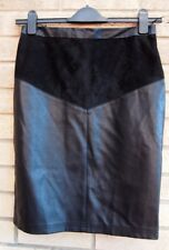PAPAYA BLACK FAUX LEATHER SUEDE STRAIGHT BODYCON PENCIL PARTY TUBE SKIRT 10 S