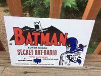 "Vintage Batman Radio Heavy Porcelain Sign 12""x8"""