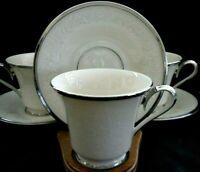 Luxurious Lenox Moonspun Pattern Platinum Trim 5 Cups 5 Saucers Excellent w2s14