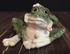 """Frog Figure Carlton Cards  Hand on Head with Tongue Out  2"""" tall, 3 1/4"""" wide"""