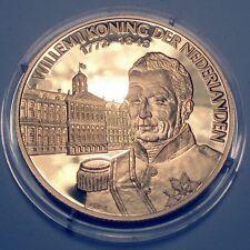 WILLEM I KING OF THE NETHERLANDS 1772-1843 BU Proof Medal 39mm 25g 24 Carat Gol.