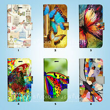 Butterfly Flip Wallet Case Cover Samsung Galaxy S3 4 5 6 7 8 Edge Note Plus 020