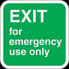 Health and Safety Green Safety Sticker Exit for Emergency Use Only Sticker