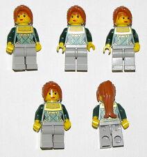 LEGO LOT OF 5 FEMALE GIRLS MINIFIGURES FRIENDS GREEN SHIRT ORANGE HAIR
