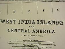 1896 grandes victorianas Mapa ~ West India islas América Central Cuba Jamaica Etc