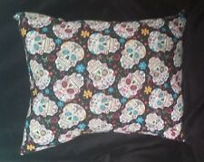 Couch Pillow -  Day Of The Dead Skeleton Head Pillow - Black