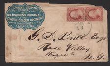 $US Sc#11a(x2) ADV. cover Chapin, Dr. Osborns, Albany NY