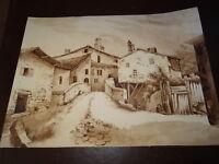 Ecole FRANCAISE XIX DESSIN LAVIS ENCRE SEPIA PAYSAGE VILLAGE MOULIN à EAU 1830
