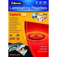 100 FOGLI PER PLASTIFICATRICE A4 125 MICRON FELLOWES