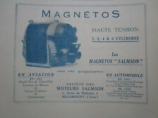 1923-24 PUB SOCIETE MOTEURS SALMSON MAGNETO AVIATION AUTOMOBILE FRENCH AD