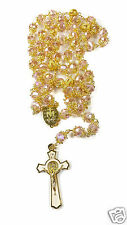 High Quality St. Benedict Gold Plated Light Pink Crystal Beads Miraculous Rosary
