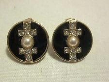 AVON Bk & White Button Earrings-Goldtone & Bk Enamel With Rhinestones,Faux Pearl